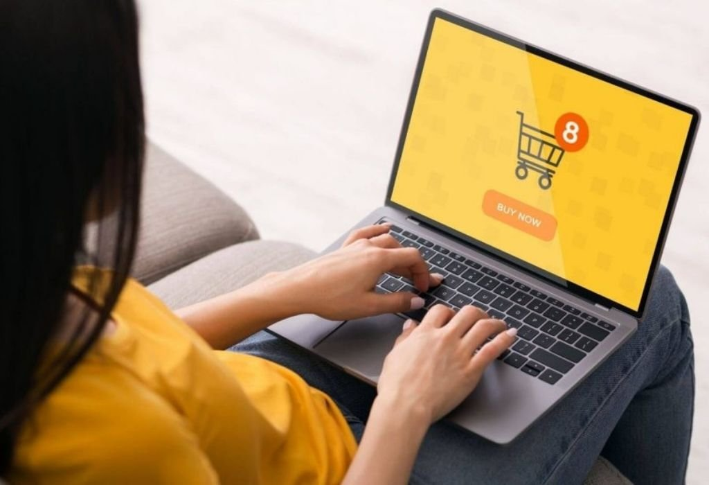 Lady shopping online on a Facego designed online store